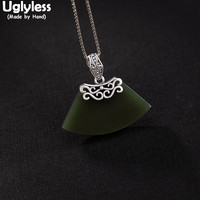 Uglyless 100% Real 925 Sterling Silver Natural Green Jade Pendants for Women Sector Geometric Fine Jewelry Ethnic Vines Necklace