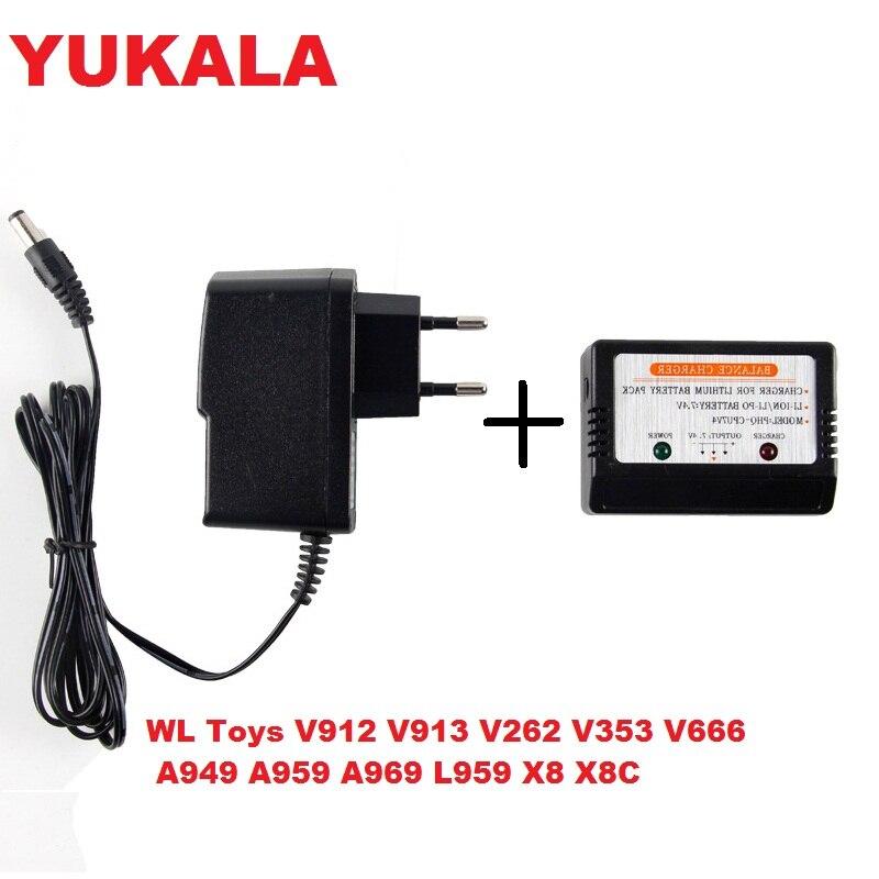 Wltoys V912 V913 V262 12428 12423 L959 V353 V666 A949 A959 K959 X8C X8W ensemble pièces Batterie Chargeur + Adaptateur