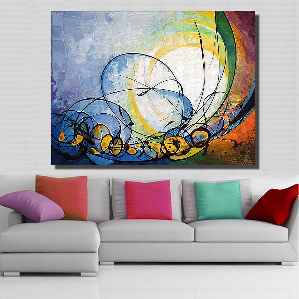 QKART Abstract Modern Picture Light Shift Oil Painting Canvas For wall pictures for living room Art Paint no Framed