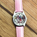 2017 fashion cute pink leather Monster High Middle students and women high quality wrist watch Xmas Gift  Relogio Feminino Clock