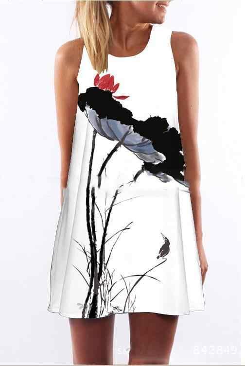 2019 летнее платье для женщин с цветочным принтом, шифоновые платье без рукавов Boho Стиль Короткие пляжное Повседневные платья Vestido NS9034