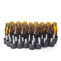 24pcs 1 3 Oz 10ml Empty Amber Glass Bottle Vials With Euro Dropper Black Tamper Evident