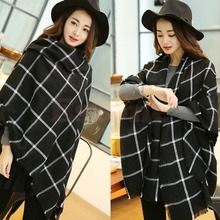 1X Hot Women Lady Blanket Black White Plaid Cozy Checked Tartan Scarf Wrap Shawl