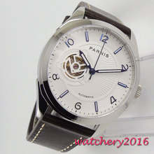 42MM PARNIS 24 jewels Japanese Miyota NH38 Automatic Self-Wind Mechanical watches White dial Sapphire Crystal mens Wristwatches
