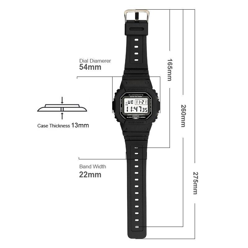 Relógio de Contagem Relógios de Pulso m à Prova Relógio Esportivo Masculino Regressiva Alarme Crono Digital 50 Dwaterproof Água Relojes Hombre