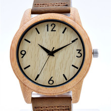Hot Selling  Japanese MIYOTA Movement Wooden Watch Genuine Leather Bamboo  Lover Wristwatch For Men And Women Lover's  drop ship