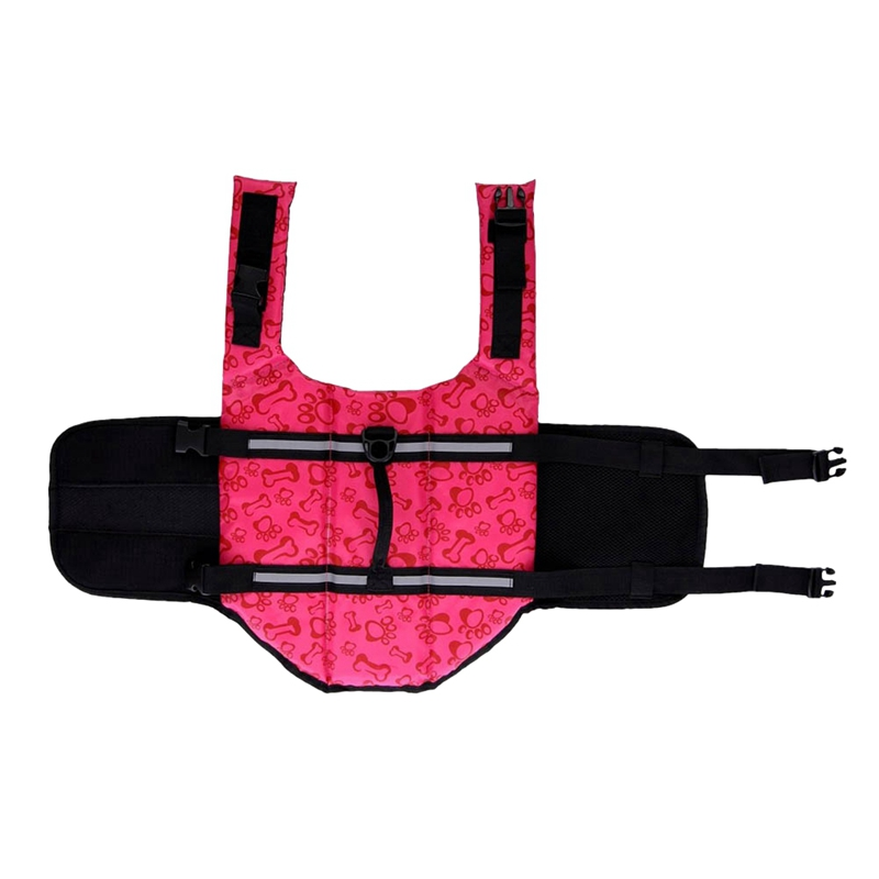 pink life vest for dogs opened