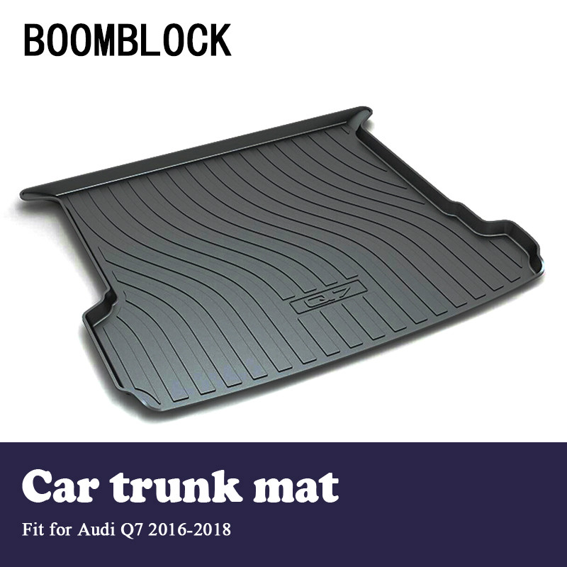 BOOMBLOCK For Audi Q7 2016 2017 2018 Waterproof Anti-slip Car Trunk Mat Tray Floor Carpet Pad Protector Auto Accessories boomblock for infiniti q50 q50l waterproof anti slip car trunk mat tray floor carpet pad protector auto accessories