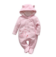 2016 New Autumn Winter Baby Girl Clothes Baby Girl Thickening Cotton Winter Rompers Newborn Baby Floral