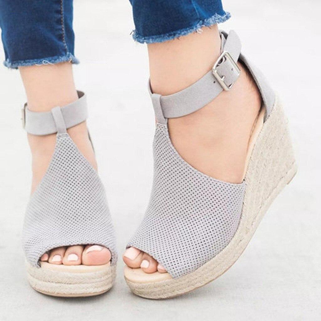 2019 Summer Sandals Women Fashion Flock Leopard Wedges Ankle Outdoor Sandals Peep Toe Casual Shoesfemme Ete Shoes F1245