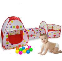 Morebig 3pcs/set Foldable Kids Toddler Tunnel Pop Up Play Tent Toys For Children Indoor Outdoor Playhouse Kids Play Gaming Toys