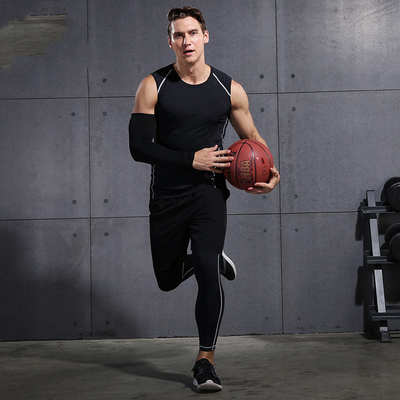 2019 Gym Running Sets Men's Fitness Compression Tights Sportswear Stretchy Training Sports Clothes Jogging Suits 3pcs - 5