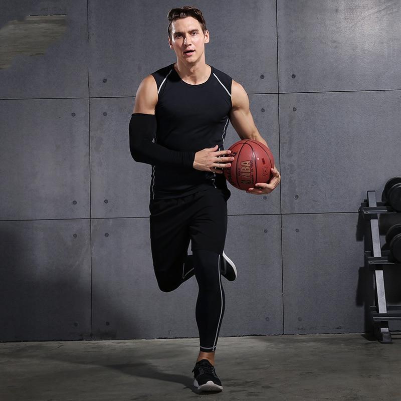 2020 комплекты для бега в тренажерном зале, мужские компрессионные трико для фитнеса, спортивная одежда, эластичная Спортивная одежда для тре... - 5