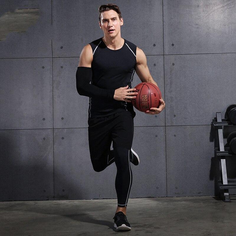 2020 Gym Running Sets Mannen Fitness Compressie Panty Sportkleding Stretchy Training Sportkleding Joggingpakken 3 Pcs - 5