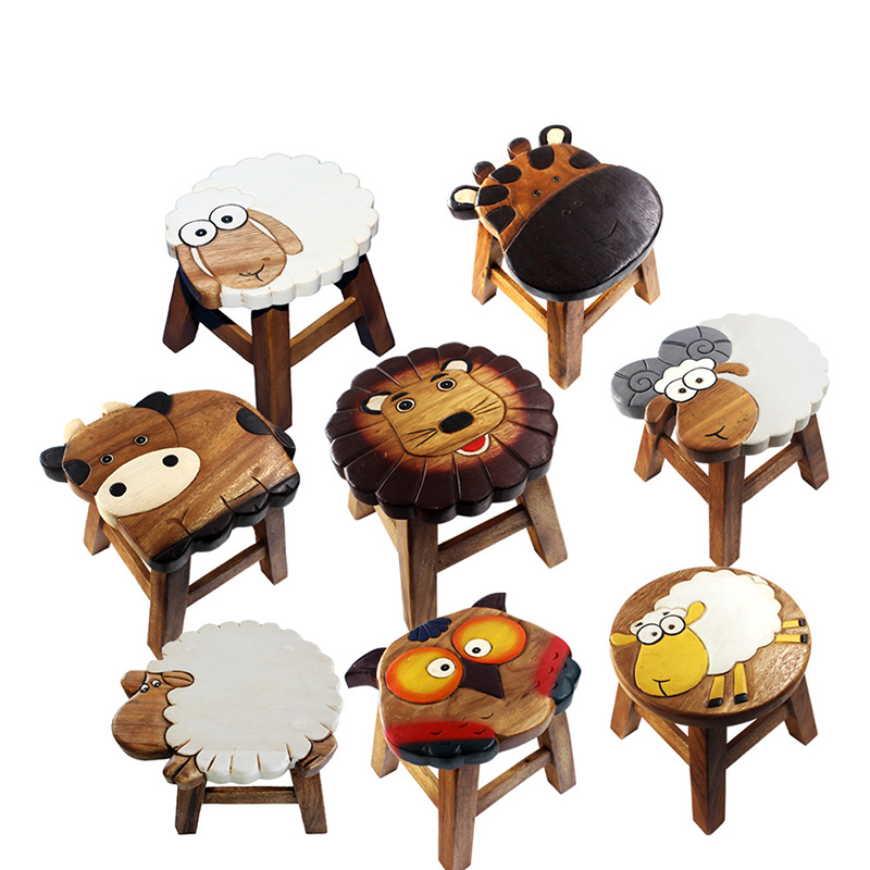 handmade cartoon children small bench solid wood baby stool learning stool kindergarten carved. Black Bedroom Furniture Sets. Home Design Ideas