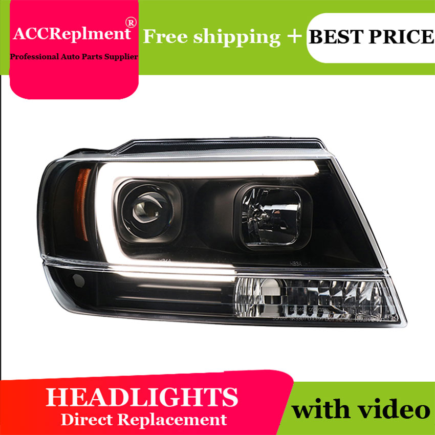 AUTO PRO 1999 2004 Grand Cherokee headlights Grand Cherokee U LED light guide Angel eyes DRL car styling xenon HID Kit parking