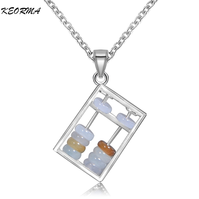 925 Sterling Silver Abacus Pendant Necklace With Natural Stone Jewelry Design Fashion Festival Gift For Girls Boy