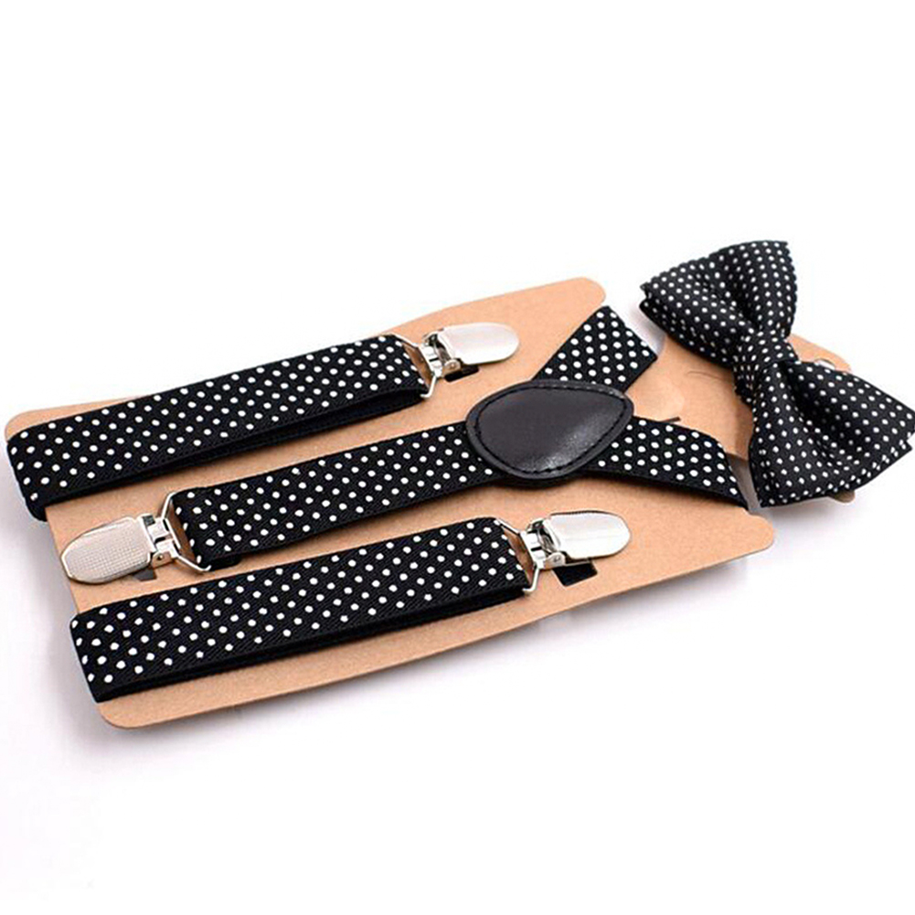 Dot Bow Tie Toddler Cute Baby Girl Causal Fashion Boy Suspender Clip Kids Set Children Body Suit Party