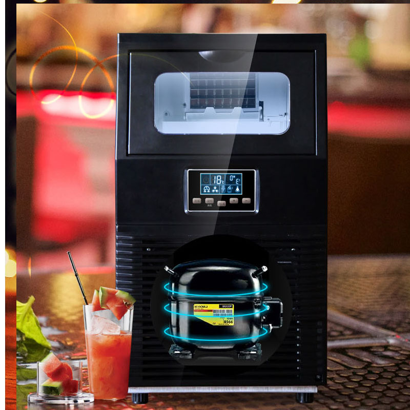 40KG/24H Commercial Electric Ice Maker Household Round Ice Making Machine Family Small Bar Coffee Teamilk Shop Ice Maker