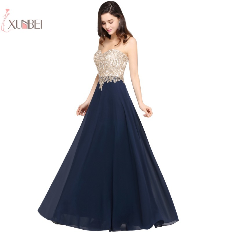 Navy Chiffon Long Prom Dresses 2019 A Line Gown Scoop Neck Sleeveless Applique Vestidos De Gala(China)