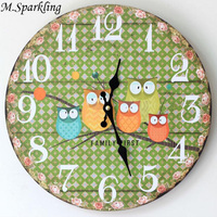 M.Sparkling Cartoon Wall Clocks Small Floral Wreath Painted Five Owl Wooden Clocks Solid Wall Watches Home Decorations Freeship