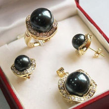 real silver-jewelry  Women's Wedding FREE shipping> >> Gorgeous Black Shell Pearl Necklace Earrings Ring Sets+ Free Chain