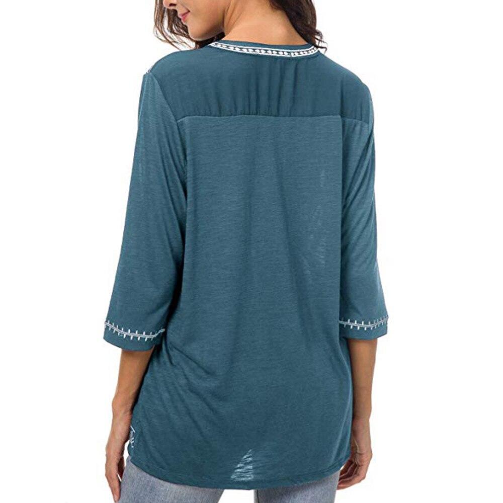 Women's Boho Trim V-Neck T-Shirt 4