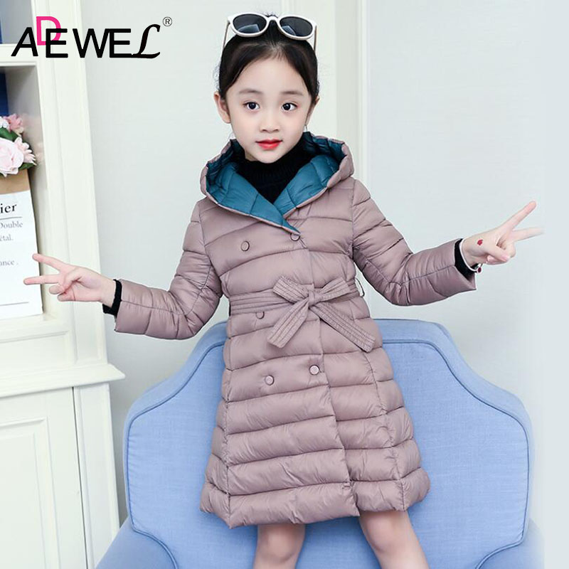 ADEWEL 4 5 7 9 10 13 Years Kids Girls Down Cotton Coat 2018 New Winter Children's Padded Jacket Long Style Warm Parkas Overcoat