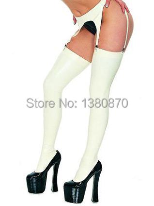 Venda quente! Sexy leggings de látex branco meias com garter