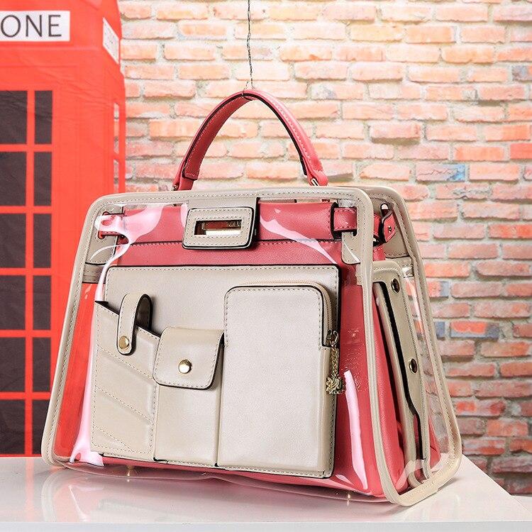Nouvelle mode dame sacs transparents sac à main Explosion européenne et américaine Multi poche Double sac haute qualité offre spéciale Pu grand - 3