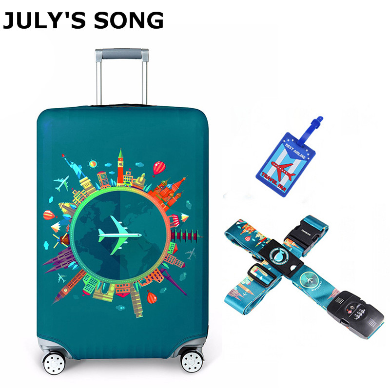 JULY'S SONG Bag Set Protective Cover Luggage Case Travel Accessories Elastic Luggage Strap Apply To 18''-32'' Suitcase