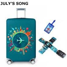 Julys song 탄성 패브릭 수하물 보호 커버, 적합 18 32 인치, 트롤리 가방 케이스 먼지 커버 여행 액세서리