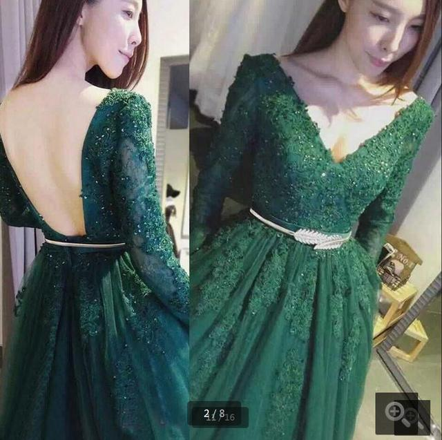 99f756e320 Real picture green ball gown lace appliques prom dress long sleeve backless  sexy beading prom formal