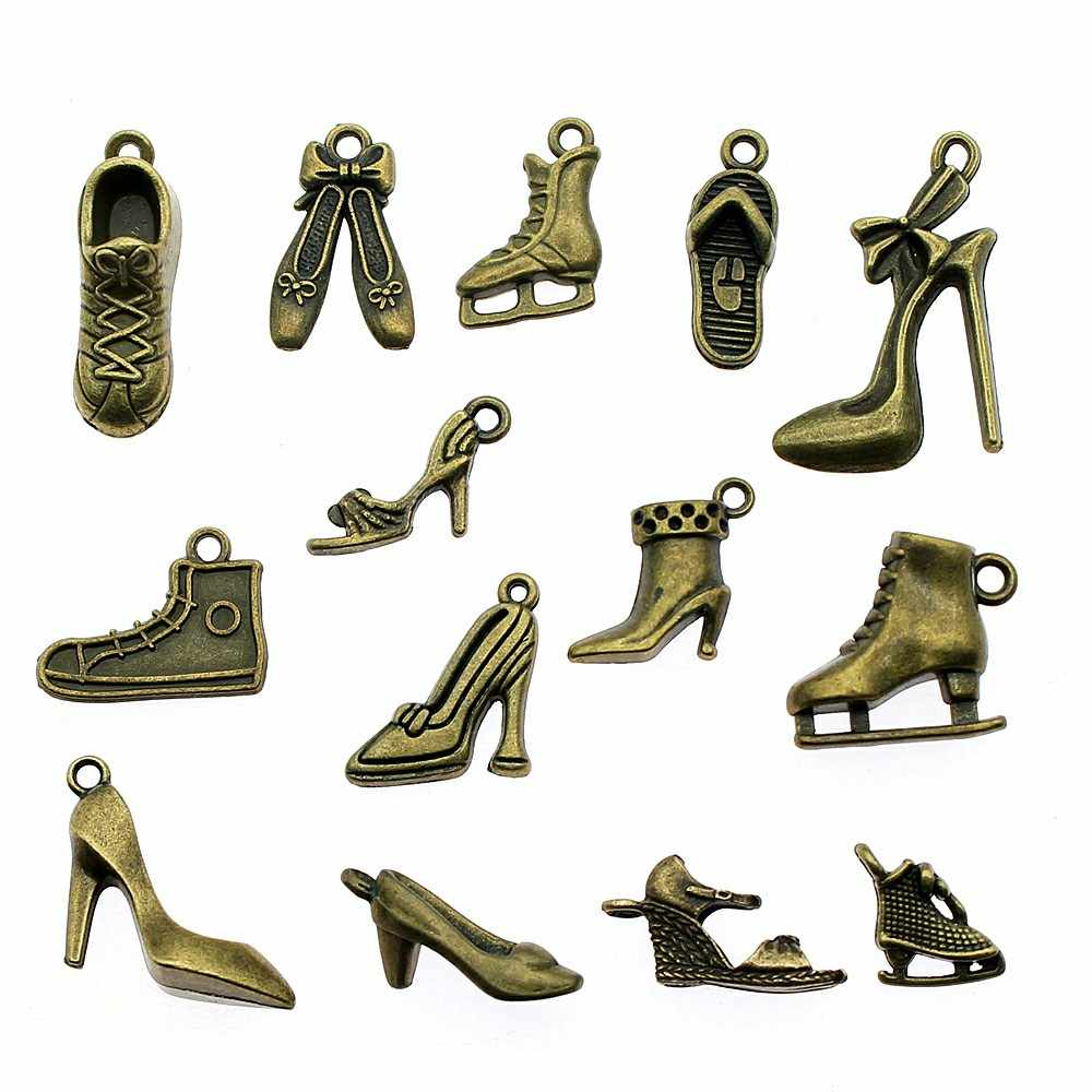 15 adet Takılar Ayakkabı Antik Bronz Kaplama Terlik Ayakkabı uğurlu takı Bulguları için Yüksek topuklu Ayakkabı Takılar