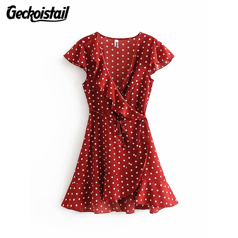 Geckoistail Women Polka Dot 2018 Summer Sexy Dresses Belt Bow bodycon Short Sleeve Wrap Ruffles Female Dress vestidos Clothes