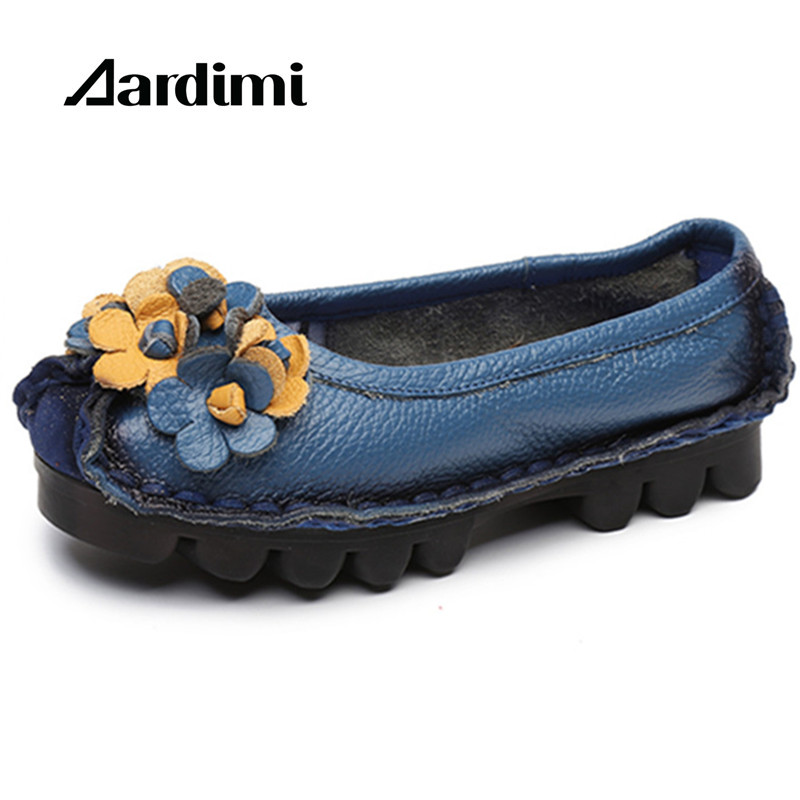 Factory Outlet Genuine Leather Basic Shoes Women Retro Soft Bottom Flat Shoes Ballet Flats Women Loafers Floral Mocassins Mujer vintage embroidery women flats chinese floral canvas embroidered shoes national old beijing cloth single dance soft flats