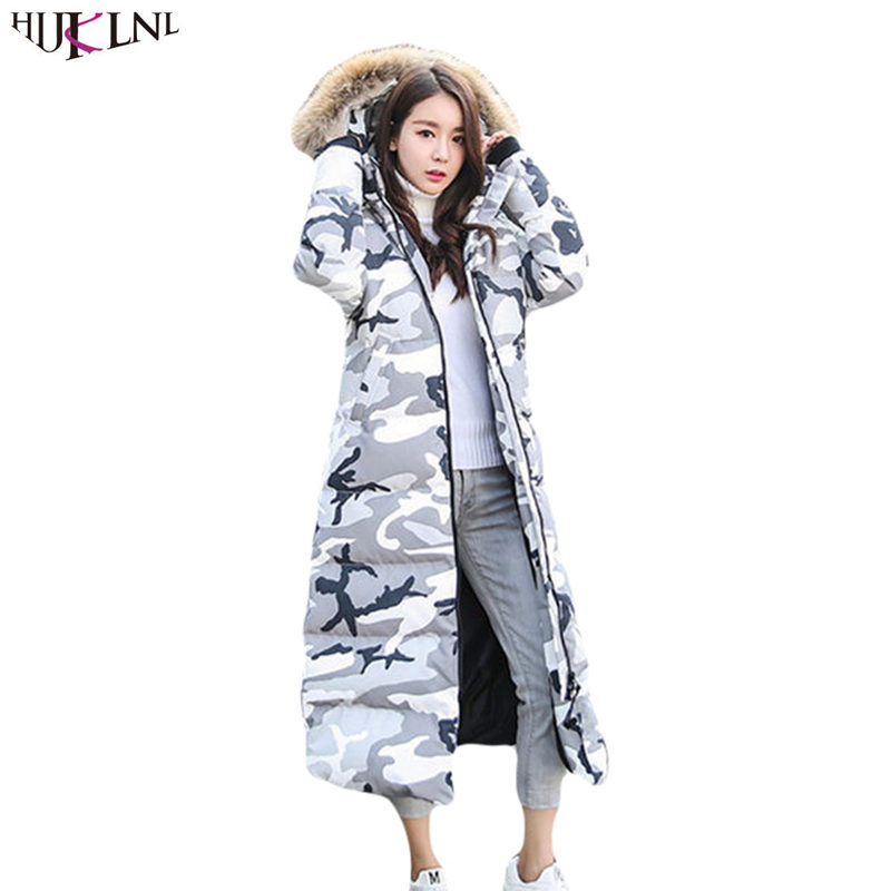2019 New Women Men Winter   Down   Jacket Long Hooded White Duck   Down     Coat   Loose Casual Outer Camouflage Couple Outwear Cacaso AC194