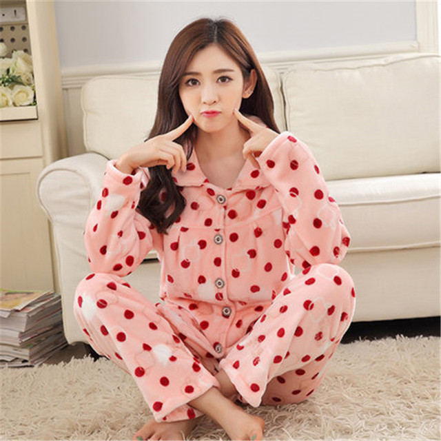 81d570c3cd Winter thick coral velvet middle aged women pajamas autumn and winter long  sleeved cardigan flannel home