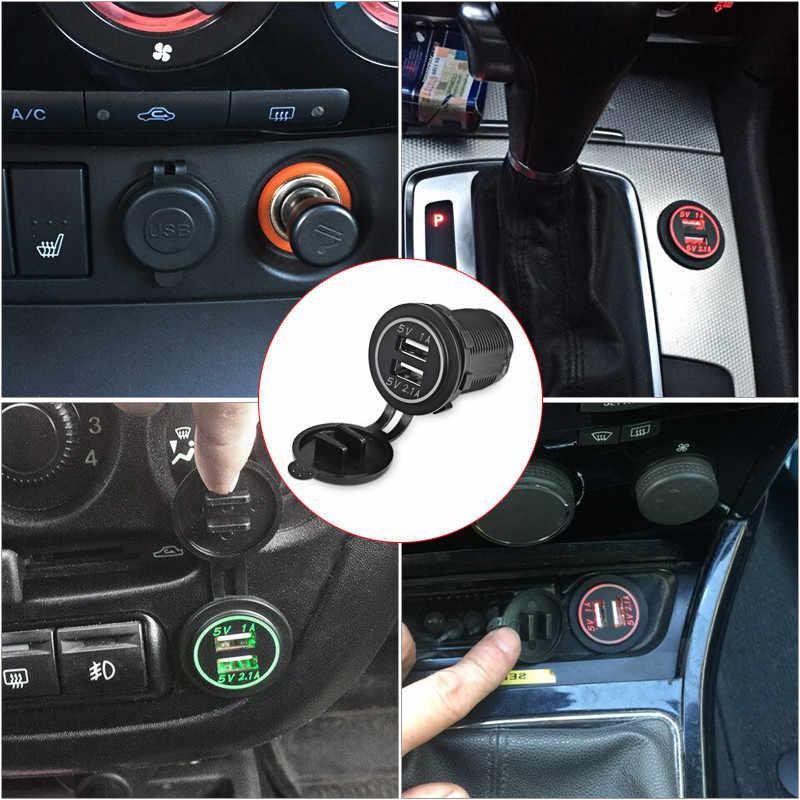USB Presa di Corrente Per Auto Moto Auto Camion Barca Led Presa di Ricarica Caricatore di Potere Dell'automobile 2.1A/1A Dual USB presa 12 v-24 v