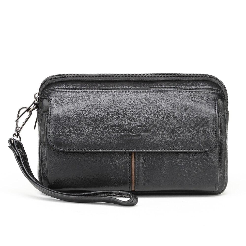CHEER SOUL Genuine leather RFID Blocking Wallet Zipper Coin Pocket Long Purse Passport Cover For Men Card Holder Purse|genuine brands|bag brand|leather genuine bag - title=