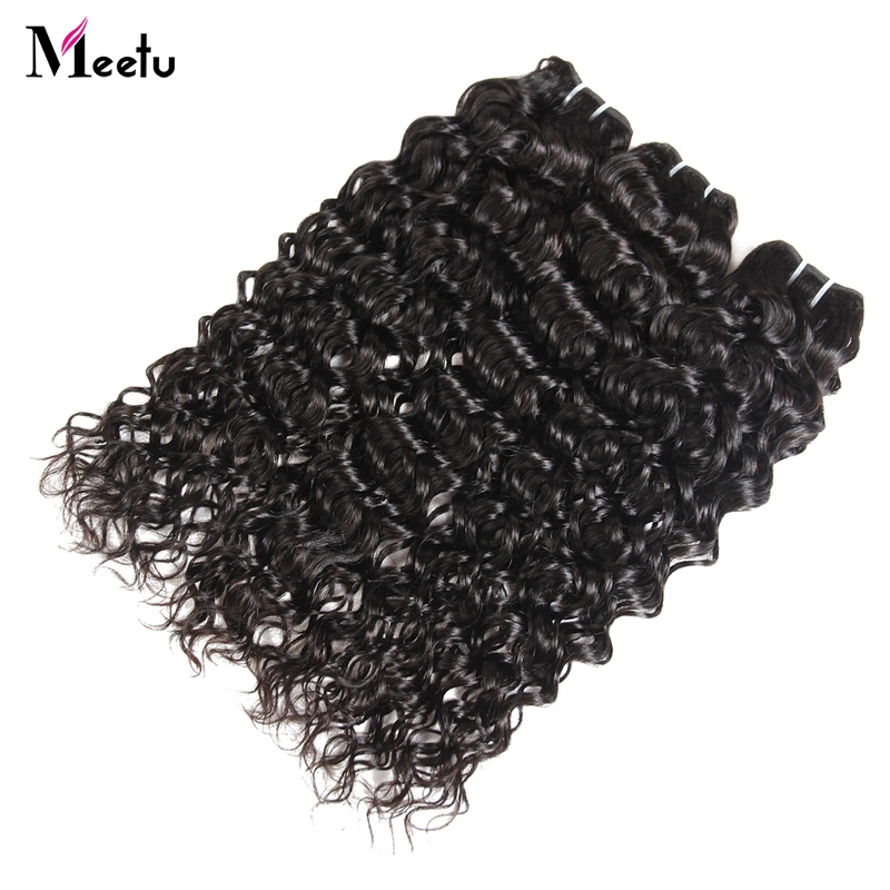 Meetu Indian Water Wave Human Hair Weave Bundles Natural Color Non Remy Hair Extensions Can Be Dyed 1pc Hair Bundles