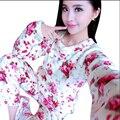 Home Use Ropa Para Mujeres Mujeres Del Invierno Pijama Conjunto Pijamas Mujer Pijamas Florales Para Las Mujeres ropa de Dormir de Coral Polar de Manga Larga