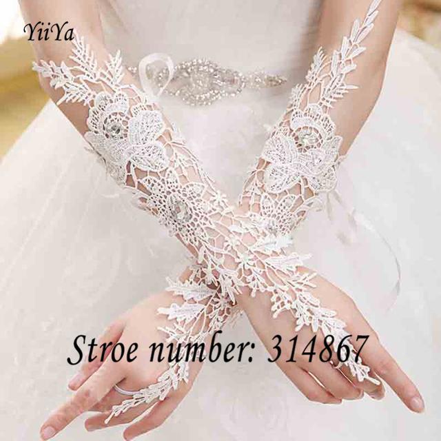 Frete grátis novo 2016 noiva de renda branca sexy luvas transparentes ST983