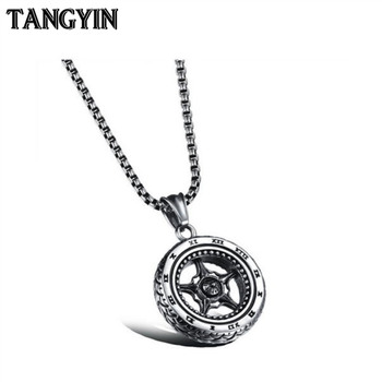 TANGYIN Car Motorcycle Tire Titanium Steel Necklace Men Chain Long Necklace Simple Arabic Digital Personality Pendant Jewelry image