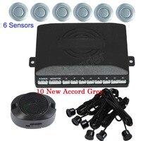 high quality Car Parking Sensor Kit 6 Sensors Auto Reverse Backup Radar System Detector 44 colors to choose buzzer sound alert
