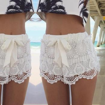 Summer Woman Short Pants Sweet Style Blue White Lace Shorts With Bow Crochet Slim Beach Hot Shorts Wholesale Шорты
