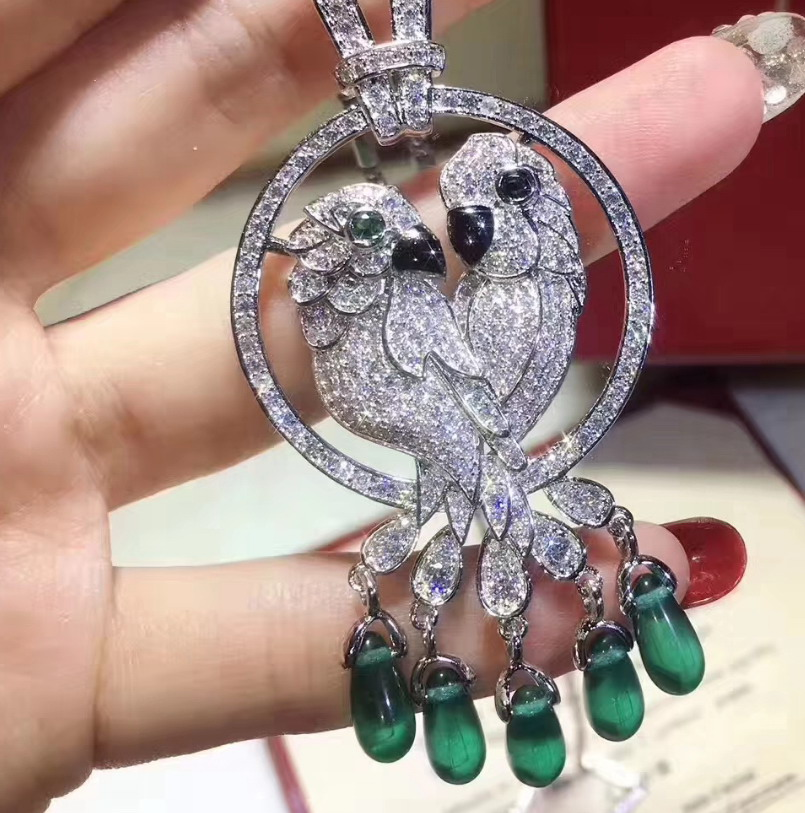 925 sterling silver zircon crystal stone bird animal tassel pendant Necklaces Party jewelry anime for women