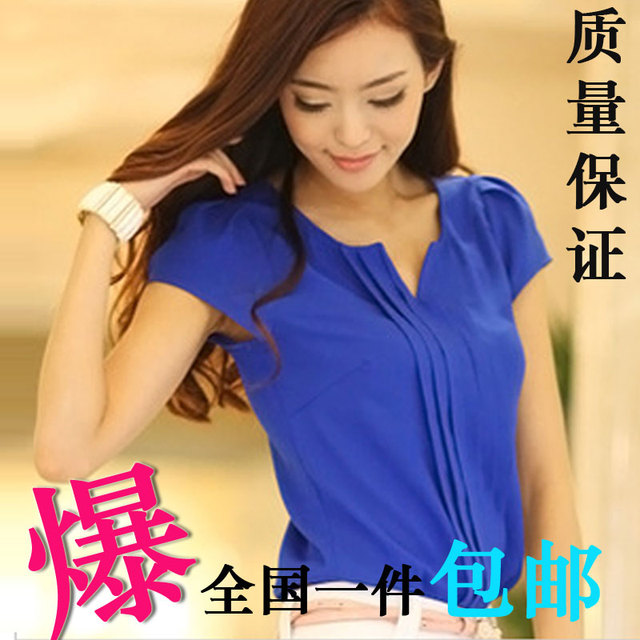 Chiffon summer short-sleeve shirt women's 2013 lace top solid color blue V-neck chiffon shirt female