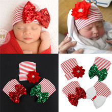Baby Hat Newborn Infant Baby Girl Flower Sequins Striped Hats Casual Cotton Cap New Arrival Christmas Holiday Party Hats 0-3M(China)