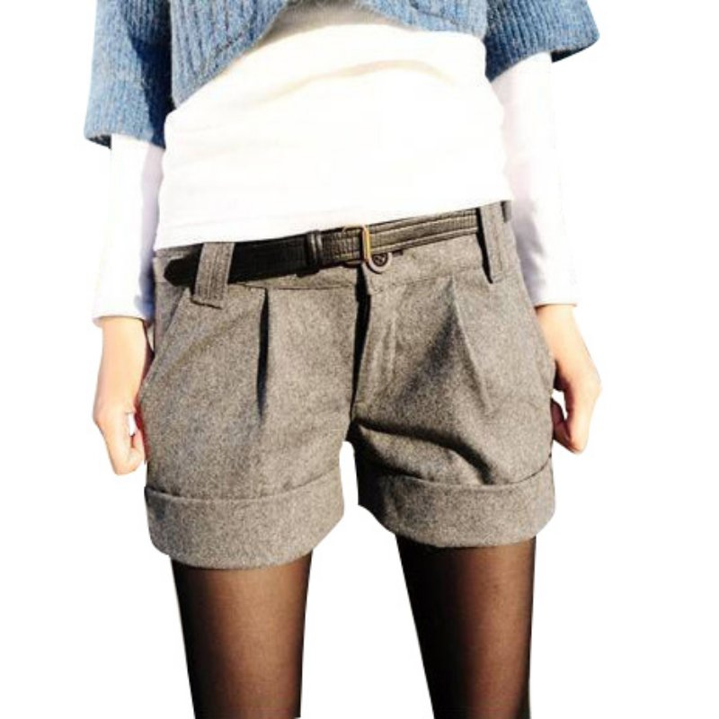Winter Autumn Warm OL-style Fashion Women Girls Solid Color Slim Casual Woolen   Shorts   H7